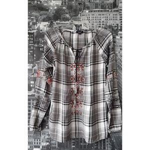 TOLANI  Embroidered Plaid Flannel Tunic Prairie